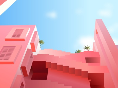 pink blend ombre stairs bulding palms sky red blue green dribbble pink illustration