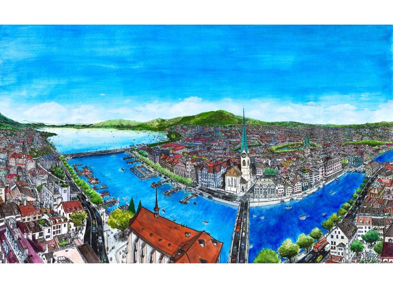 Zürich,Switzerland view. Watercolors.