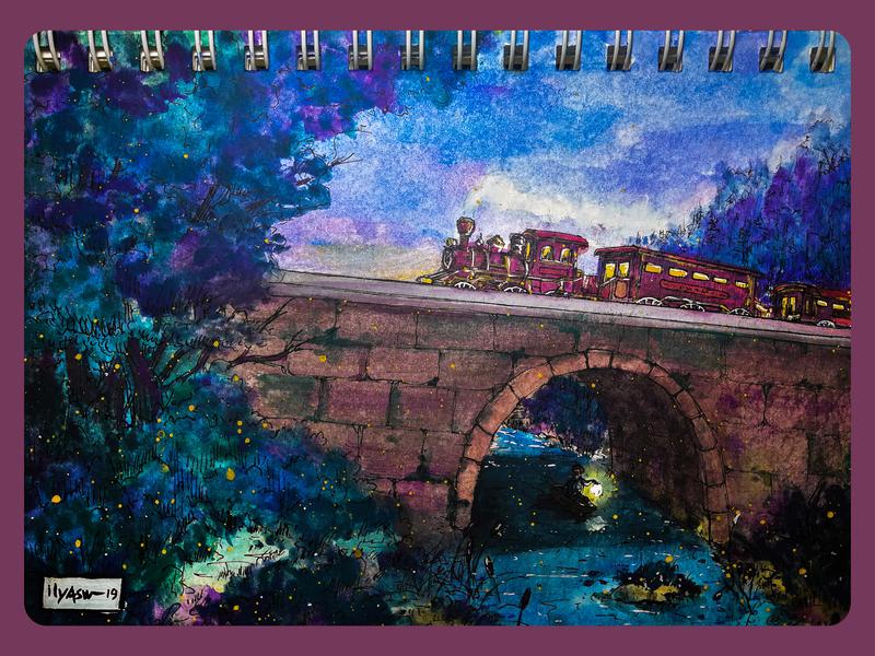 """Under the bridge"" ,watercolor"