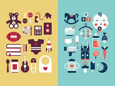 Babies & Kids Stuff babies kids baby kid icons illustration infographics flaterrifics flat design