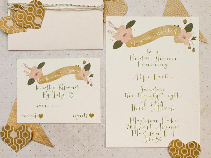 Honeycomb Bridal Shower Invitation Set wedding bridal honeycomb gold green metallic geometric