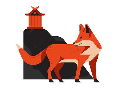 Inari Shrine graphic  design nature animals fox animal illustrator illustration