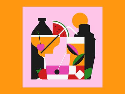Summer Cocktails restaurant bar cocktails graphic design design illustrator illustration