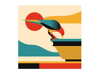 Stay Hydrated nature summer bird illustrator illustration