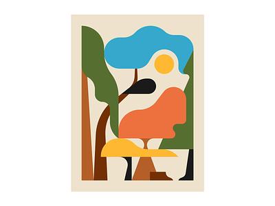 Komorebi print forestry trees nature illustration illustrator illustration