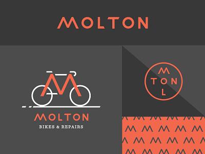 Molton molton type repairs bikeshop bike pattern typography logotype branding identity logo