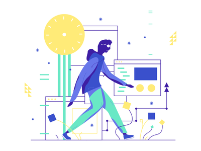 Stroll dude guy walking design clock tech stroll illustration character