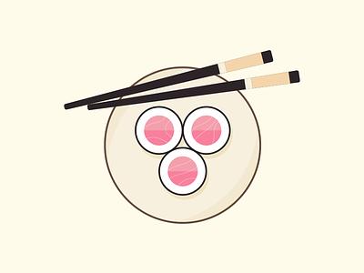 Salmon Maki sushi illustration food chopsticks maki salmon