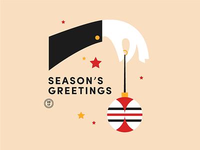 Season's Greetings festive ball bauble type season hand illustration christmas