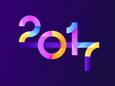 2017 gradient illustration type typography year 2017