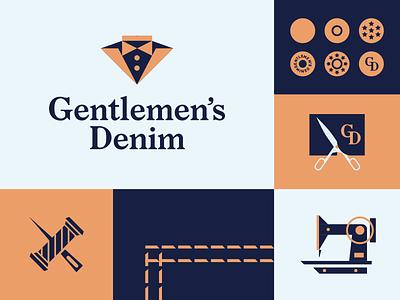 Gentlemen's Denim identity icon illustration logo fashion classy branding dandy gentleman gentlemen denim