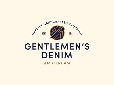 Gentlemen's Denim logo design amsterdam badge fashion owl typography type identity logo branding
