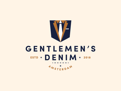 Gentlemen's Denim logo design suit tie fashion typography type badge denim illustration identity branding logo