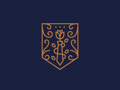 Gentlemen's Denim logo design shield crest floral rose tie identity branding logo illustration fashion denim