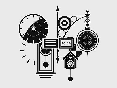 Clocks time monochrome illustration clocks clock