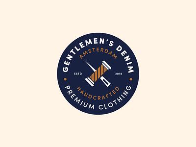 Gentlemen's Denim logo design denim thread needle symbol illustration typography type badge branding identity logo