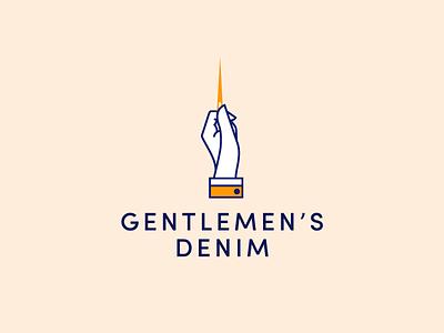 Gentlemen's Denim logo design needle denim fashion typography type hand illustration identity branding logo