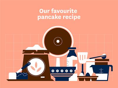 Pancake Recipe ingredients baking butter flour eggs illustration pancakes pancake food