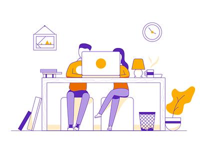 Better Together workspace desk work laptop collaboration identity branding lineart illustration character