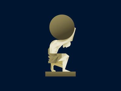 Atlas gradient illustration statue globe character atlas
