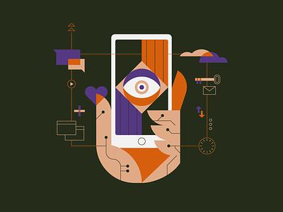 Always Online spot mail tech technology media web hand phone online illustration