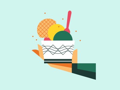 Icecreammm hand food ice icecream design illustration