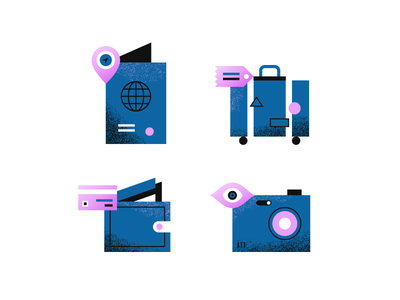 Travel Items texture suitcase passport vacation holiday camera design illustration spot icons travel