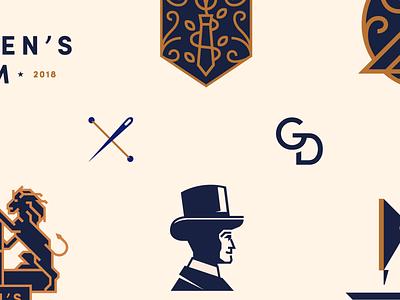 Gentlemen's Denim monogram typography badge classy denim fashion visual illustration design identity branding