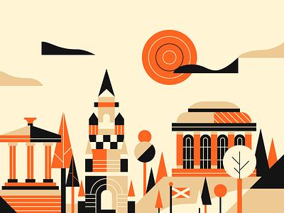 EDI edinburgh buildings city landscape design illustration