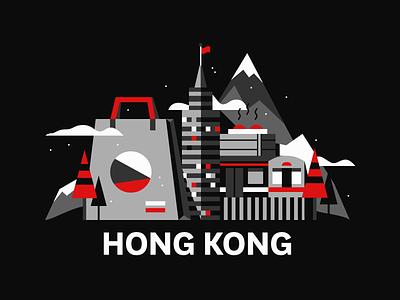 Hong Kong travel cityscape city illustration
