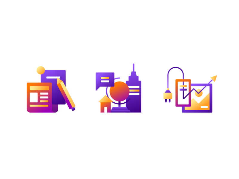 News, Meetups, and Plugins gradient vector iconography identity branding design icon sketch illustration