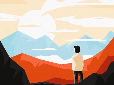 Outlook nature landscape character illustration