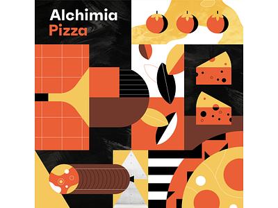 Alchimia Pizza texture pattern illustrator identity branding food restaurant pizza illustration