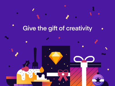 The Gift Of Creativity christmas present gift holidays illustration sketch