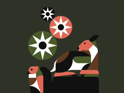 In The Wild geometric illustration deer animals animal