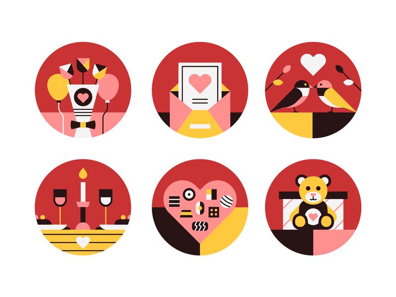 Valentine's Day icon bird valentine day illustration illustrator gift heart love valentines day