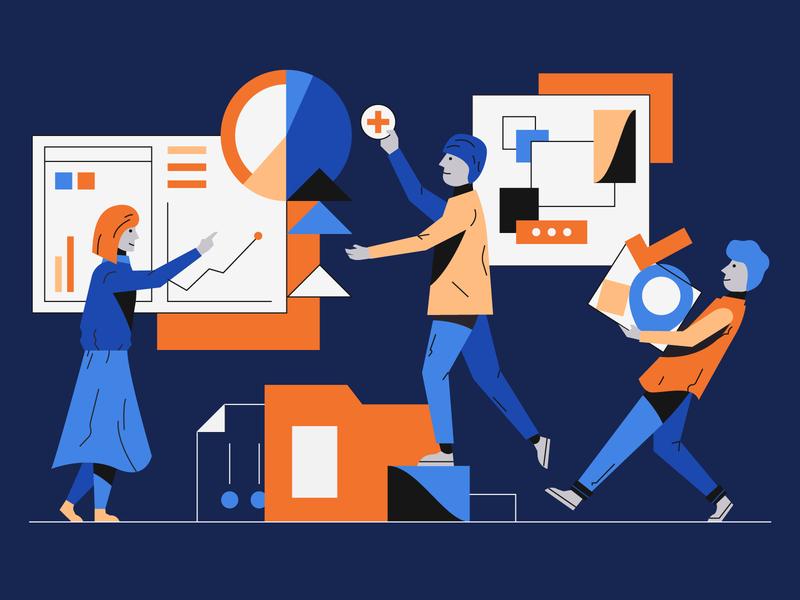 Teamwork illustration illustrator character collaboration interface product teamwork hero illustration