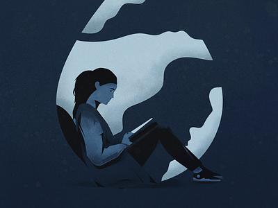 Rainy Day Reading reading rain texture weather illustration illustrator character editorial