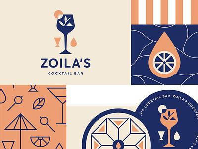 Zoila's cocktail logo design pattern illustration logo visual identity identity branding restaurant bar