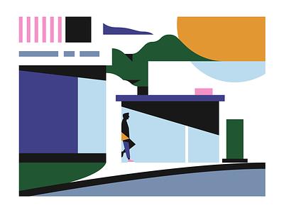 Bus Stop geometric abstract print illustrator illustration