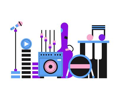 Music instruments flat illustration illustrator illustration sound guitar music