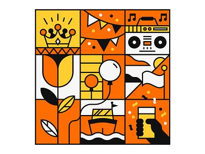 Kingsday festive music celebration party kingsday illustrator illustration agency