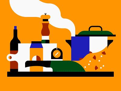Soup geometric flat illustration cooking food illustrator illustration