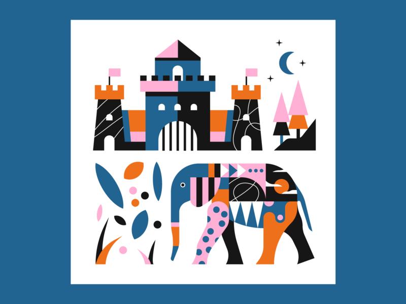 Elephant & Castle pattern geometric illustrator illustration castle elephant