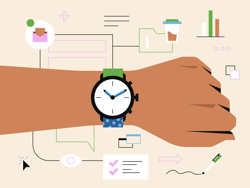 On The Clock productivity hand office work illustrator illustration business