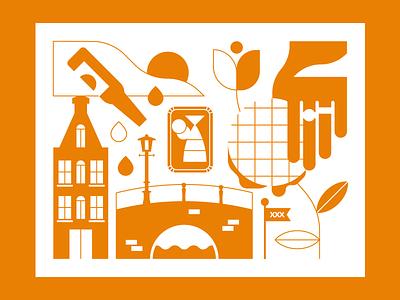 Amsterdam challenge weekly warm-up dribbble illustration illustrator cityscape city amsterdam