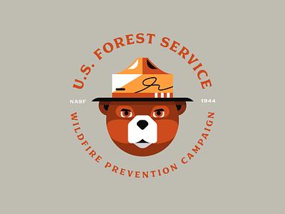 Smokey Bear badge design animal bear typography type badge illustrator illustration