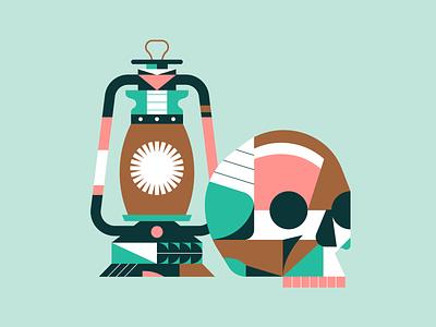 Skull & Lantern pattern geometric illustrator illustration lantern skull