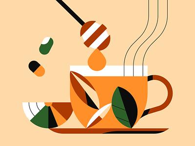 Honey Lemon Jasmine Tea illustrator illustration geometric honey tea