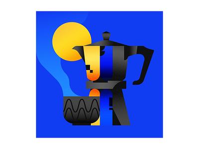 Moka Pot geometric illustrator illustration coffee
